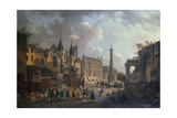 Spectacle forain dans un carrefour imaginaire de Paris Giclee Print by Pierre-Antoine Demachy