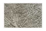 Plan de Paris (1734-1739) dit plan de Turgot, La Seine, le Pont-Neuf, l'île de la Cité, Notre-Dame Giclee Print