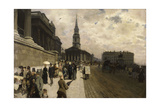 La National Gallery et l'église Saint Martin à Londres Giclee Print by Nittis Giuseppe
