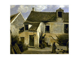 Cour d'une maison de paysans aux environs de Paris Lámina giclée por Jean-Baptiste-Camille Corot