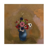 Anémones dans un vase bleu Giclee Print by Odilon Redon