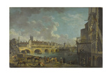 Vue du quai de Gesvres au moment de la démolition des maisons du Pont au Change. 1788 Giclee Print by Pierre-Antoine Demachy