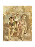 Deux fillettes assises Giclee Print by Jules Pascin