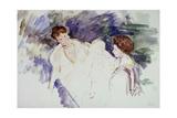 Deux femmes et un enfant dans une barque Giclee Print by Mary Cassatt