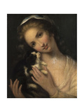 Jeune fille au chat Giclee Print