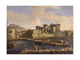 Darse du port de Naples (Italie) Giclée-Druck von Gaspare Vanvitelli