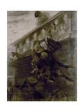 La chute de Claude Frollo Giclee Print by Gustave Doré