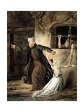 Notre-Dame de Paris - Frollo, Esmeralda et La Sachette Giclee Print by Louis Boulanger