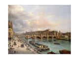 La Cité et le Pont-Neuf vus du quai du Louvre Giclee Print by Giuseppe Canella
