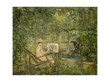 Femme peignant dans un paysage Giclee Print by Pierre Laprade