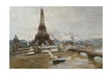 La Tour Eiffel et le Champ-de-Mars en janvier 1889 - les travaux de l'Exposition universelle Giclee Print by Paul-Louis Delance