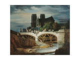Construction du pont de l'Archevêché, vers 1828 Giclee Print