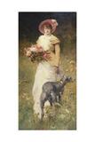 Portrait de femme au chien Giclee Print by Ferdinand Heilbuth
