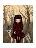 Little Red Riding Hood in Autumn with the Wolf Art by Jasmine Becket-Griffith