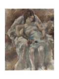 Jeune fille assise aux fleurs Giclee Print by Jules Pascin