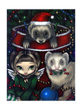 Christmas Ferrets - a Ferret Painting Photographic Print by Jasmine Becket-Griffith