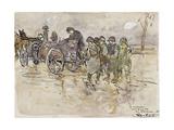 La roulotte sur la route de Belfort Giclee Print by Louis Robert Antral