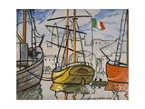 Marseille, bateaux au port, 1920 Giclee Print by Louis-Mathieu Verdilhan