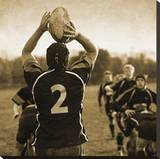 Rugby Game I Stretched Canvas Print by Pete Kelly