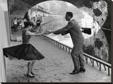 Rock 'n' Roll Dancers on Quays of Paris, River Seine, 1950s Stretched Canvas Print by Paul Almasy