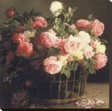 Basket of Roses (detail) Stretched Canvas Print by Hans Looscher