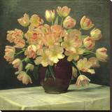Tulips in a Vase on a Draped Table (detail) Stretched Canvas Print by Peter Johan Schou