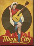 Pin Up Girl, Music City, Nashville, Tennessee Stretched Canvas Print by  Anderson Design Group