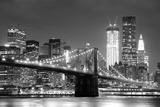 New York City Brooklyn Bridge Black and White with Downtown Skyline over East River. Posters by Songquan Deng