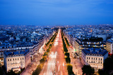 View on Avenue Des Champs-Elysees from Arc De Triomphe at Night Paris, France Poster by PHOTOCREO Michal Bednarek