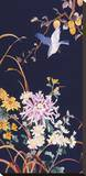 Oriental Flowers & Bird Stretched Canvas Print by Haruyo Morita
