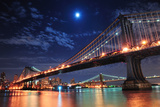 Brooklyn Bridge and Manhattan Bridge over East River at Night with Moon in New York City Manhattan Poster by Songquan Deng