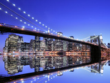 Brooklyn Bridge and Manhattan Skyline at Night Photographic Print by  Zigi