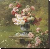 Peonies in a Wild Garden (detail) Stretched Canvas Print by Louis-Marie Lemaire