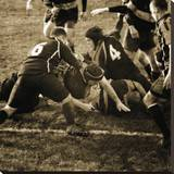 Rugby Game III Stretched Canvas Print by Pete Kelly