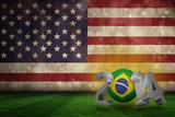 Brazil 2014 against Usa Flag in Grunge Effect Photographic Print by Wavebreak Media Ltd