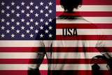 Composite Image of Usa Football Player Holding Ball against Usa National Flag Posters by Wavebreak Media Ltd