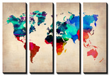 NaxArt - World Map in Watercolor 1 - Poster