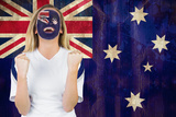Excited Australia Fan in Face Paint Cheering against Australia Flag in Grunge Effect Photographic Print by Wavebreak Media Ltd