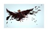 Woman Floating   on Dark Wings Prints by Sergey Nivens