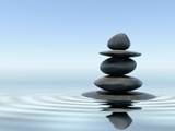 Zen Stones In Water Poster by  f9photos