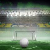 Digitally Generated White Leather Football against Vast Football Stadium for World Cup Photographic Print by Wavebreak Media Ltd