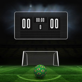 Football in Brazilian Colours and Scoreboard against Football Pitch and Goal under Spotlights Photographic Print by Wavebreak Media Ltd