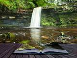 Creative Concept Image of Waterfall in Woods in Pages of Book Print by  Veneratio