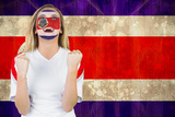 Excited Costa Rica Fan in Face Paint Cheering against Costa Rica Flag in Grunge Effect Photographic Print by Wavebreak Media Ltd