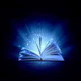 Image of Opened Magic Book with Magic Lights Photographic Print by Sergey Nivens