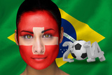 Composite Image of Swiss Football Fan in Face Paint with Brasil Flag Photographic Print by Wavebreak Media Ltd