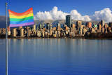 Gay Pride Flag in Beautiful City of Vancouver, Canada. Photographic Print by  Hannamariah