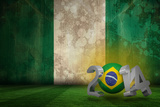 Brazil 2014 against Nigeria Flag in Grunge Effect Photographic Print by Wavebreak Media Ltd