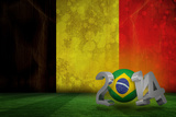 Brazil 2014 against Belgium Flag in Grunge Effect Photographic Print by Wavebreak Media Ltd