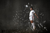 Football Player in Jump Striking Ball with Sketches at Backdrop Prints by Sergey Nivens